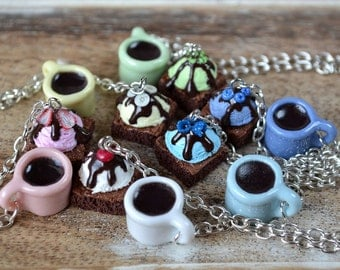 Brownies with ice cream and coffee necklace,Miniature food necklace,Polymer clay food necklace