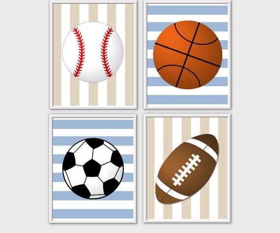Sports Baby Boy Nursery Ideas: Baby Nursery Wall Art Sports Baseball Football Soccer
