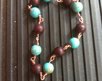 Brown & Turquoise Bracelet Copper Wire