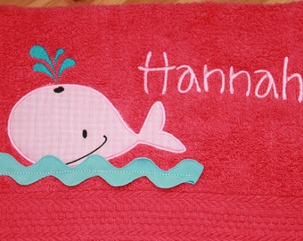Personalized Kids Towel - Bath - Beach - Swim Towel - Monogrammed Towel - Gift for Kids - Girl Towel - Pink Whale
