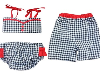 Brother Sister Boy Girl Twin Swimsuit Set - Gidget & Grady (Black gingham/red accents) Buy separate[SSSHGG]