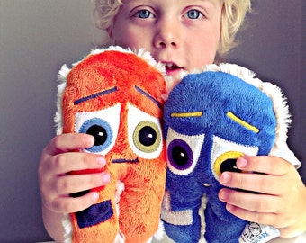 Little monster soft stuffed toy. SAFE FOR NEWBORN customisable plush toy. Gift for twins, triplets, godson, goddaughter