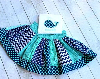 girls whale birthday outfit mint green navy blue girls skirt set anchor sailboat summer beach clothing chevron polka dot outfit  for girls