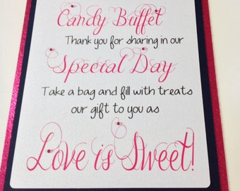 Candy Buffet Welcome Sign, Wedding Sign, Candy Bar Supplies
