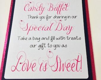 Candy Buffet Welcome Sign, Wedding Sign, Candy Bar Supplies