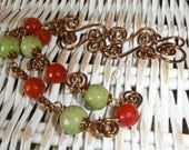 Red Apple, Green Apple Necklace. Wire work Necklace, Red Agate, Green Ceramic Beads