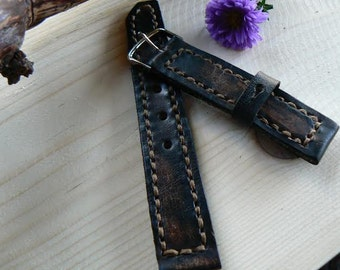 Leather watch band, handmade mens watch strap, Black strap with aging effect