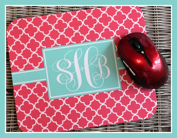 Monogrammed Teacher Gift Teacher Appreciation Gift Mouse Pad Monogram Personalized Mousepad Computer Accessories Desk Coworker Gifts Office