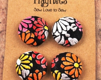Fabric Covered Button Magnets / Flower Magnets / Strong Magnets / Refrigerator Magnets / Fridge Magnets