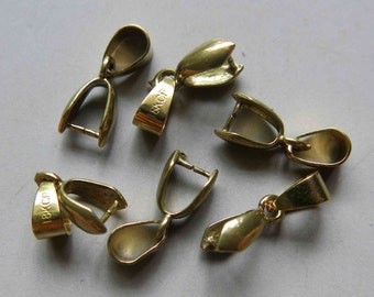50pcs Raw Brass Bail For Pendant Findings 12.5mm x 6.5mm- F136
