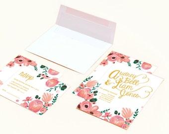 Printable Wedding Invites - Gold & Pink Flower Bloosom Hand Painted Wedding Invitations