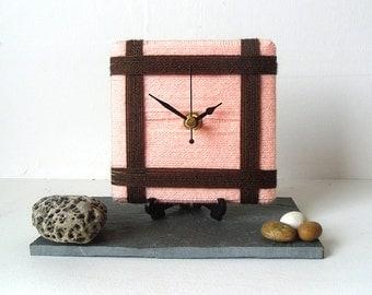 Wool Desk Clock / Small Wall Clock Peach and Brown Chocolate Yarn