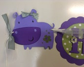 Purple Hippo Birthday Banner