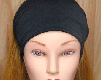 Wide Jersey Headband Hair Bands Turban Stretchy Jersey Black Hairband Ruched with Fabric Wrap