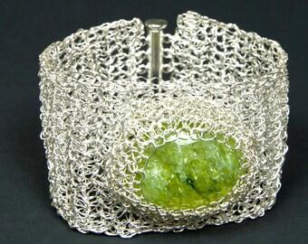 Lime Green Lacy Silver Wire Crochet Bracelet Wire Jewelry Silver Wire Cuff Bracelet Crochet Wire Bangle Bracelet by AlfaStudioArtistica