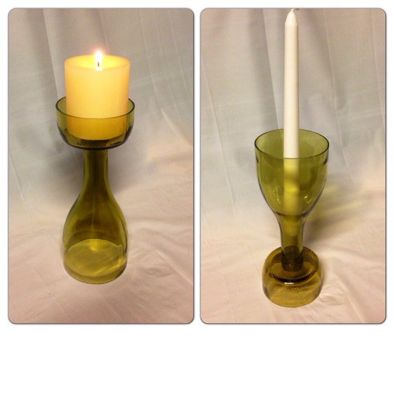 Wine bottle candle holder recycled glass bottle for Champagne bottle candle holders