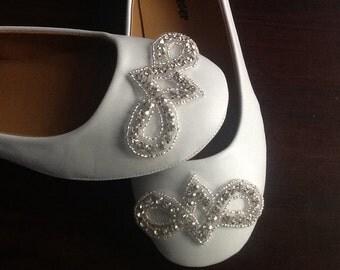 Flat Bridal Shoe,Rhinestone Shoe,Wedding Shoe, Flat Rhinestone  Shoe