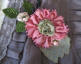 Pink Beauty Flower Brooch