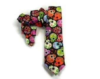 Day of the Dead tie, Sugar Skull necktie, Halloween tie, mens sugar skull, Dia de los Muertos,  mexican skull necktie