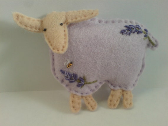 "The ""Lavender Lamb""...a Fragrant, lavender and organic wool filled Embroidered felt sheep"
