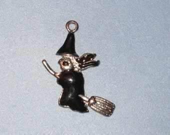 Halloween Witch On Broom Pendant Charm(s) Only