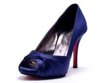 Custom Made Dark Blue Satin High Peep Toe Pumps. Blue Satin Bridal Heels. Blue Wedding Shoes with Red Sole. Custom Made  Shoes with Red Sole