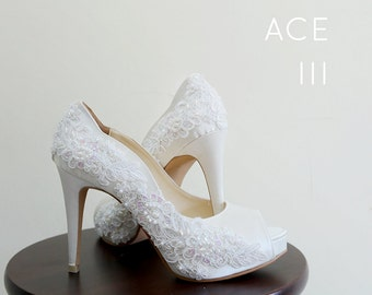Ivory White Lace EmbroideryWedding Shoes,Ivory White Bridal Heels,Ivory White Beaded Lace Wedding Shoes, Ivory White Lace Bridal Heels