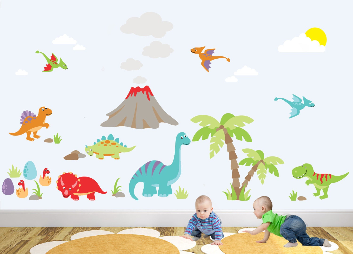 Wall Stickers Boys Room Dinosaur Nursery Wall Decal Baby Room Decor Wall Stickers