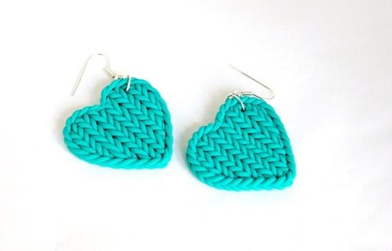 Faux knitted earrings - polymer clay teal earrings - aqua green heart earrings - knit imitation