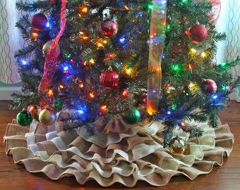 Burlap Tree Skirt, Tree Skirt, Ruffle Tree Skirt, Burlap, Ruffled Tree Skirt, Burlap Christmas Tree Skirt, Christmas Tree Skirt, Tree Skirts