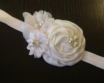 White headband, Baby Hair Bow, flower headband, baby headbands, satin and chiffon headband, baby girl headband, hair bows- BL900