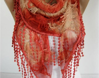 SALE ! 9,90 USD-Elegant Red Scarf - Cowl with Lace Edge -gift Ideas For Her Women's Scarves- - for her -Fashion accessories