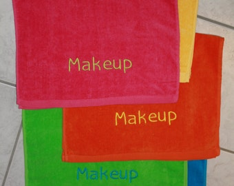 Embroidered Makeup Hand Towel - 5 Bright Colors!