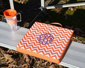 Orange and White Chevron Personalized Stadium Seat Cushion | Football | Sport | Bleacher | Little League | High School | College | Tailgate