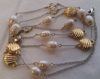 real pearl and rhinestone necklace
