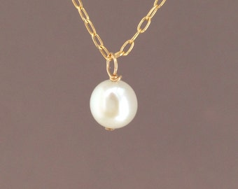 White Freshwater Pearl Gold Necklace also in Silver