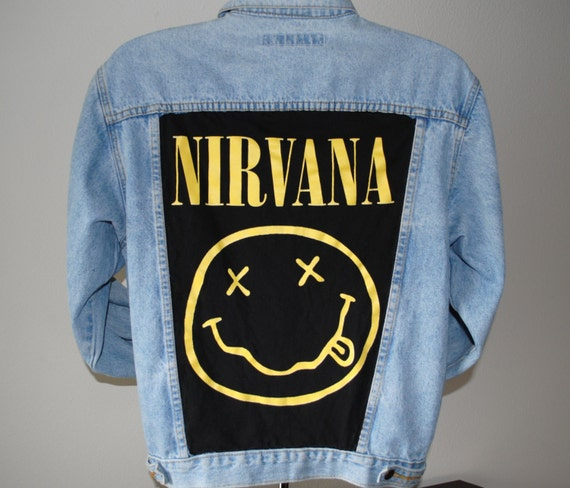 Vintage Denim Jacket With A Hand Cut And Sewn Nirvana Back