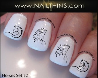 Horse Nail Decal SET # 2 Country Horses Nail Art Equestrian   NAILTHINS