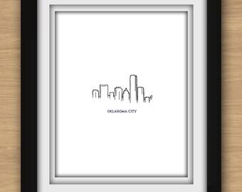 Oklahoma City Skyline Minimalist Print
