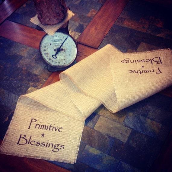 Primitive Blessings Jute Burlap Fabric Table Runner Christmas Thanksgiving Decoration Handmade