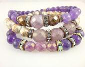 Orchid Boho Chakra Bracelets, Amethyst Bracelets, Fluorite Bracelets, Crown,Third Eye,Throat, Heart Chakra Bracelet