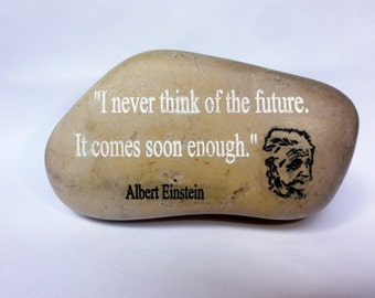 Engraved Beach Stone Sea rock gift Israel, Albert Einstein Quote ,inspirational stone