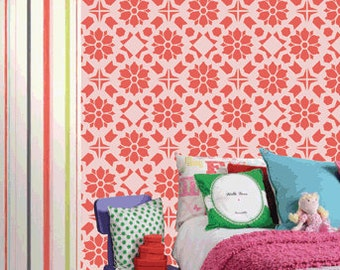 Reusable damask wall stencil pattern,DIY home wall decor,DS-12