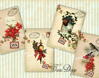 Digital collage sheet Christmas Holiday-Greeting card 4x6 inch-set of 4 cards-Vintage Illustration-Printable Download Large Image