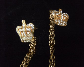 Vintage Jeweled Sweater Set, Gold Tone Chained Crowns with Rhinestones