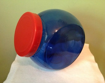 Blue Glass Canister with Red Lid