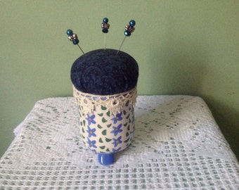 Ceramic Pin Cushion with Fancy Beaded. Pins