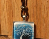 Breezy Blue Magical Tree Glass Leather Necklace Bohemian Jewelry Ecofriendly Jewelry