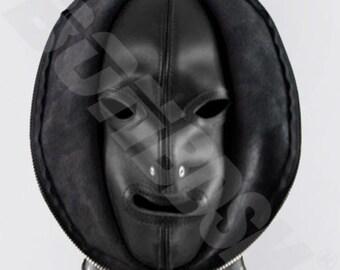 Bondage Fetish Mask Double skinned black leather Gimp hood, Leather bondage fetish mask hood, Mature