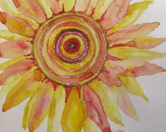 Sunflower watercolor, original sunflower watercolor painting